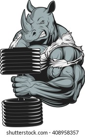 Vector illustration, a ferocious rhino athlete doing exercise for biceps with dumbbells