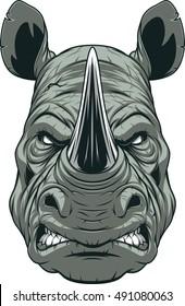 Vector illustration, a ferocious rhinoceros head on a white background