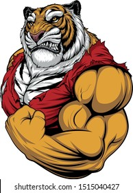Vector illustration, a ferocious Tiger strong bodybuilder athlete posing, showing large biceps
