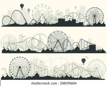 Vector illustration. Ferris wheel. Carnival. Funfair background. Circus park.  Skyscrapers with roller coast.