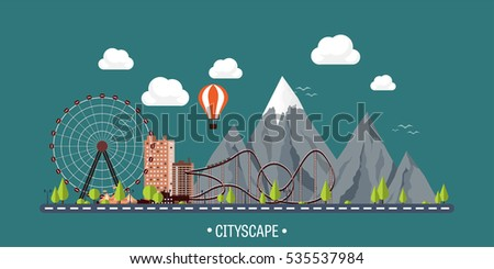 vector illustration ferris wheel carnival funfair stock vector
