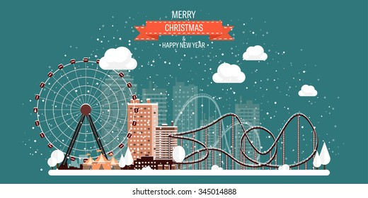 Vector illustration. Ferris wheel. Winter carnival. Christmas, new year. Park with snow.