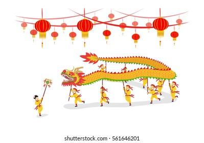 vector illustration festival chinese new year dragon dancing show and decorated with chinese lanterns isolated