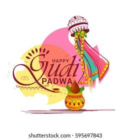 Vector Illustration For Festival Of Gudi Padwa Celebration (Lunar New Year) Background.