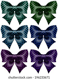 Vector illustration - festive black polka dot bows. Created with gradient mesh and blending modes.