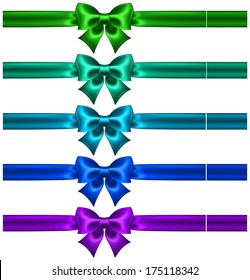 Vector illustration - festive bows in cool colors with ribbons. Created with gradient mesh.
