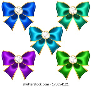 Vector illustration - festive bows with diamonds. Created with gradient mesh and blending modes.