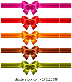 Vector illustration - festive bows in warm colors with ribbons. Created with gradient mesh.