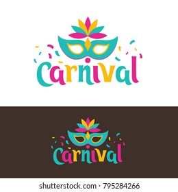 vector illustration. festive carnivals in Brazil and Mardi Gras in Venice. Carnival mask and an inscription with colorful geometric pattern. element for design business cards, invitations, gift cards.