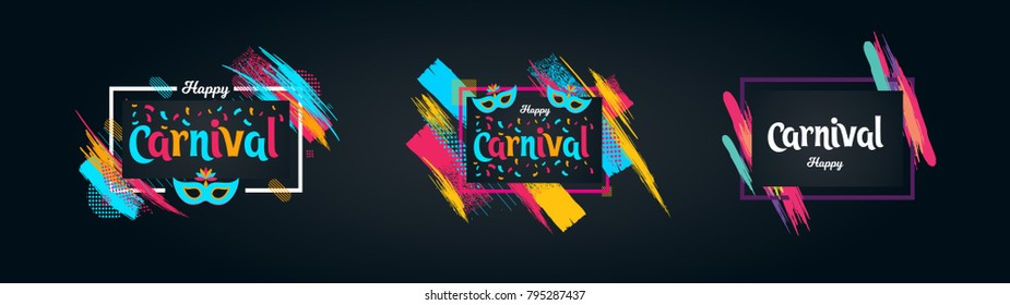 vector illustration. festive carnivals in Brazil and Mardi Gras in Venice. Carnival mask and an inscription with colorful geometric pattern.element for design business cards, invitations, gift cards.