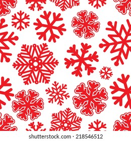 Vector illustration Festive Christmas and New Year seamless snowflakes pattern