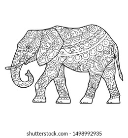 Vector illustration of the festive elephant. The picture is drawn with a pencil. An adult elephant in the ethnos style with ornaments and patterns of black and white color.