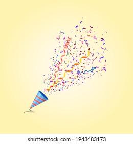 Vector illustration. Festive firecracker for birthday or holidays.