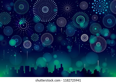 Vector illustration of a festive fireworks display with bokeh over the city background design.