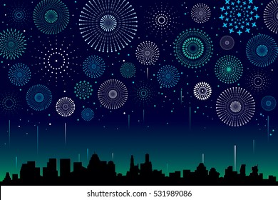 Vector illustration of a festive fireworks display over the city at night scene for holiday and celebration background design.