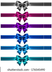 Vector illustration - festive polka dot bow-knots with ribbons. Created with gradient mesh and blending modes.