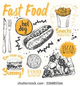 Vector illustration of festive traditional American products. Funny labels of street food: pizza, snacks, sandwiches and hot dog.