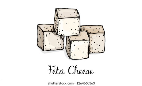 Vector Illustration of Feta Cheese Sketch Style