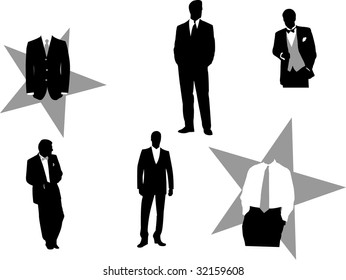 Vector illustration of fictitious business men in tuxedos, good for design business or corporate oriented.