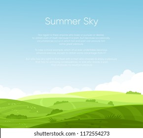 Vector illustration of fields landscape with beautiful dawn, green hills, bright color blue sky with place for your text, background in flat cartoon style.
