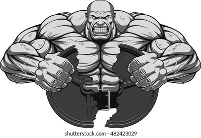 Vector illustration, a fierce strong athlete breaks the iron disk for barbell