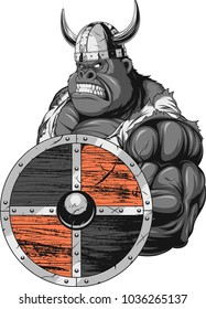 Vector illustration, fierce and strong muscular gorilla wearing viking clothes, on white background