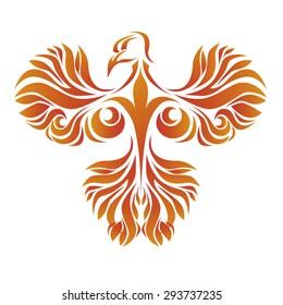 Vector illustration of a fiery phoenix