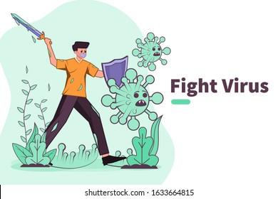 Vector illustration fight against covid-19 virus or  coronavirus. cure corona virus. people fight virus concept. corona viruses vaccine concept. don't be afraid corona virus concept. stop coronavirus.
