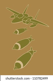 Vector illustration of a fighter jet dropping bombs