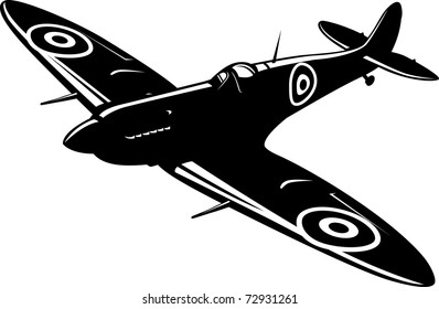 Vector illustration of a fighter Spitfire black and white