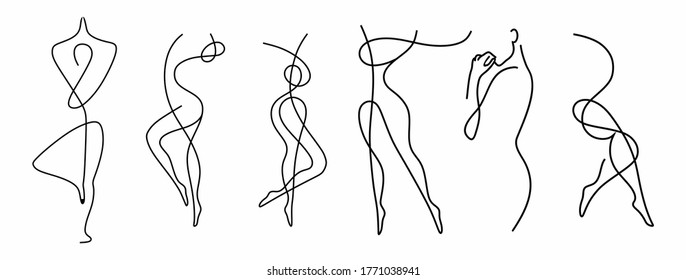vector illustration of a woman's figure one-line drawing, contour drawing of girls, freehand crib, simple,