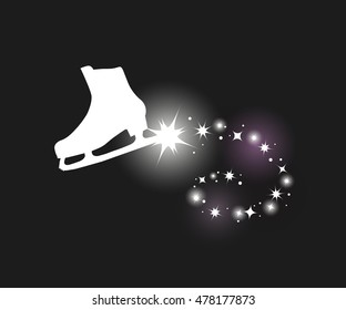 Vector illustration of figure skate and sparkle trail. Elements for design on black background. Silhouette of ice skate. Shine, glitter, sparkle. Sporty logo, greeting cart, icon,symbol, object,print