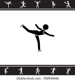 Vector illustration. Figure skating icon.  Ice skater icon