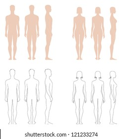 Vector illustration of figures, Set of male and female silhouettes. Front, back and side views