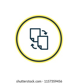 Vector illustration of file sharing icon line. Beautiful advertising element also can be used as document exchange icon element.
