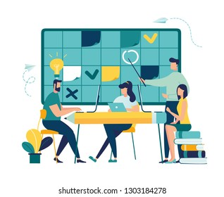 Vector illustration, fill in the calendar table, mark important dates and tasks, team thinking and brainstorming, analytics of information about the company - vector