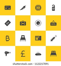 Vector illustration of fill icons for food, hotel, money on yellow and white background. Set includes  barbecue, bitcoin,  kebab,  hair,  sign,  food,  hotel,  bedroom modern flat and material icons.