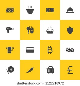 Vector illustration of fill icons for food, hotel, money on yellow and white background. Set includes  hot, money,  care,  dish, cash,  food,  hairdryer, bitcoin,  cent modern flat and material icons.
