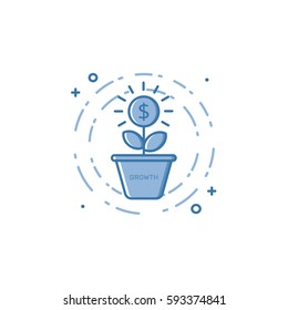 Vector illustration of filled bold outline coin plant growing out of the pot icon. Graphic design concept of economy, money growth, investment . Blue flat line isolated object.