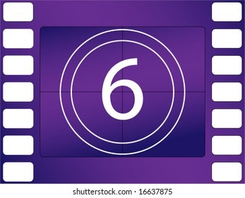 vector illustration of film countdown, number 6