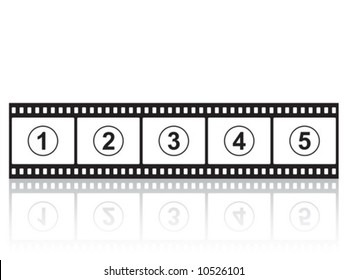 Vector illustration of a film strip with reflection