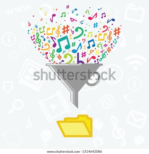 Vector Illustration Filter Music Notes Folder Stock Vector (Royalty