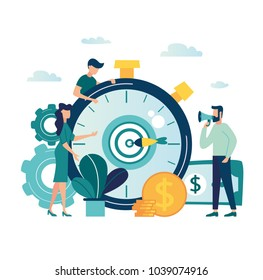 vector illustration finance. graphic elements are a beneficial investment in investing in a successful business in a short period of time. A cohesive team of people working on business