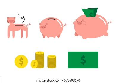 Vector illustration of financial and banking icons including money, bank note, coin, thin and fat piggy bank symbol of saving and crisis.