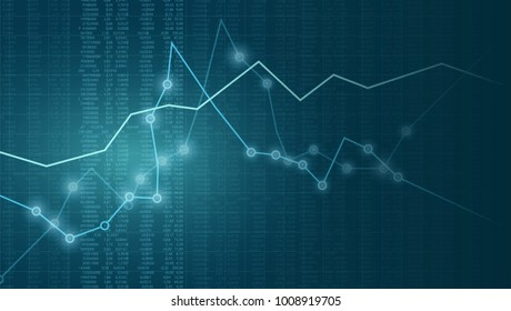 Vector illustration financial chart with line graph, glowing points and numbers in stock market on blue color background.