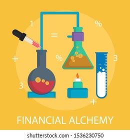 "Vector illustration of financial & economy concept with ""financial alchemy"" success and commerce icon."