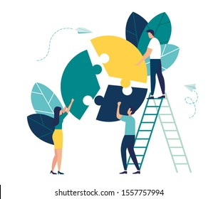 Vector illustration, financial management concept, statistics and business report, small people like jigsaw puzzles puzzles collect infographics vector