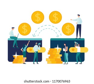Vector illustration of financial transactions, money transfer, banking, large wallets with coins