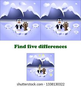 vector illustration find five differences penguin