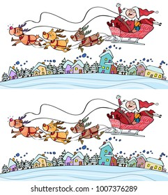 Vector illustration, find the ten differences Santa Claus game, card concept.